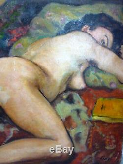 Table Old Oil On Canvas Nude Female Melee Gustave Lino 1893/1961