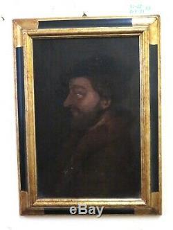 Table Old Oil On Canvas Portrait Male Profile D 'd'era Fine Eight