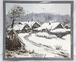 Table Old Oil On Canvas Russian Hamlet Under The Snow Sign 1990