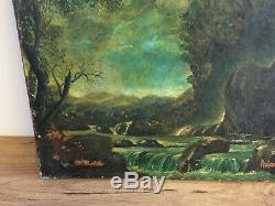 Table Old Oil On Canvas Signed Roland Oudot (1897-1981) River Landscape