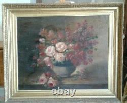 Table Old Oil On Canvas Still Life Bouquet Of Roses And Lilacs 19th