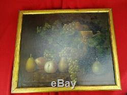 Table Old Oil On Canvas Still Life Fruits Signed R. R Painting XVIII