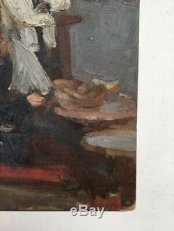 Table Old, Oil On Hardboard, School Twentieth Modern Coffee Scene