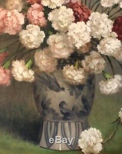Table Old Oil On Panel Flower Bouquet Eyelets