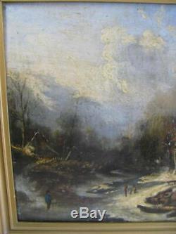Table Old Oil On Panel Landscape Lacustrine, Xix, Unsigned, Barbizon