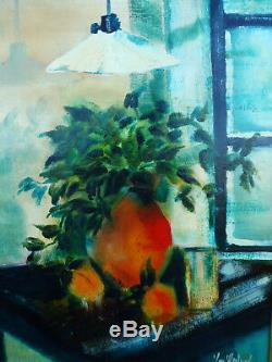 Table Old Oil On Panel Still Life Bouquet And Fruits Signed