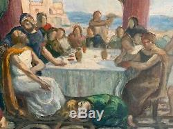 Table Old Oil Painting On Canvas Preparatory Sketch XIX End