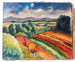 Table Old Painting Oil On Canvas Expressionist Landscape, Southern France