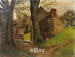 Table Old Painting Oil On Canvas Landscape Signed Xix, Barbizon 1880
