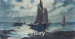 Table Old Painting Oil On Canvas Marine, Boat, Sea, Moonlight