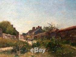 Table Old Painting Oil On Canvas Signed Xix, Landscape, Village, Peasant
