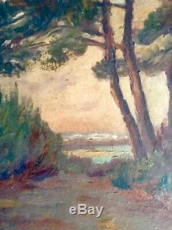 Table Old Pinède Bassin D'arcachon Oil On Canvas Imberti Bordeaux Stamp