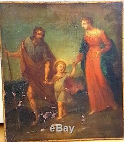 Table Old Religious XVII Century Oil On Canvas