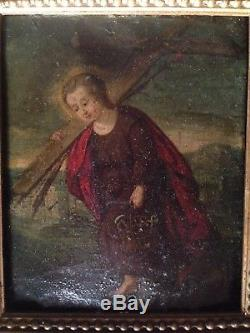 Table Old Seventeenth Oil On Copper Jesus Child Instruments Of The 17th Passion