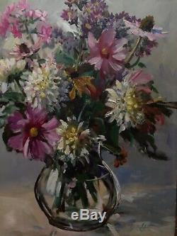 Table Old Twentieth Bouquet Of Flowers Oil On Masonite Panel