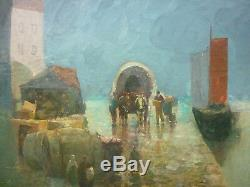 Table Old Wharf Scene Oil On Canvas Signed Anime Boat Harbor Albrecht