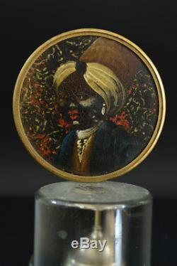 Table Painting Miniature Old Indian Portrait On Cardboard Box Cover