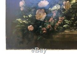 Table Signed Former Badel, Oil On Canvas, Bouquet Of Flowers, Nineteenth