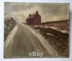 Table Signed Former Fournier, Oil On Canvas, Snowy Landscape, Early Twentieth
