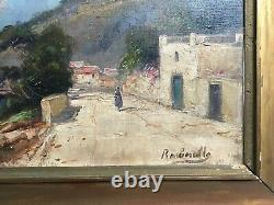 Table Signed Former, Oil Painting, Paysage Animé, Seaside, Early Twentieth