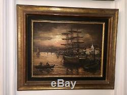 Table Signed Robert Mogisse Oil On Canvas 1933 Sail Port Evening In Old Rare