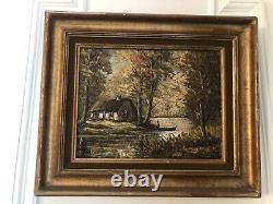 Table Signed Robert Mogisse Oil On Canvas Ancient 1933 Landscape Etang Bois Rare