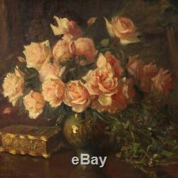 Table Still Life Painting Signed Oil On Canvas With Old Style Frame