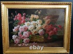 Table Thrown Roses By Emile Godchaux 19th Oil On Canvas Old Frame