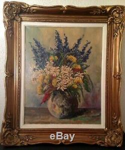 Table W Lambrecht Former (xix-xx) Bouquet Flower Oil On Canvas Signed