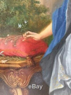 Table XIX Former 19th Elegant Woman Portrait Oil On Canvas To Restore