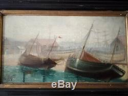 Table XIX Th Former Dutch Marine Oil On Canvas Sign Porquet 1898