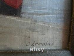 Tres Belle Oil On Canvas Tres Anime Quai De Seine By Lemoine