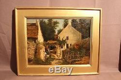 Two Old Oil Paintings On Wood Country Scenes Nineteenth Century