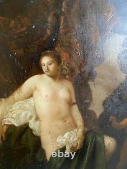 Venus And Cupid Table Former Oil On Metal Plate