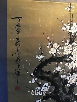 Vertical Roll Kakemono Ancient Japan Oil On Cherry Paper In Flowers Signed