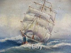 Very Interesting And Old Navy / Oil On Canvas Marouflaged