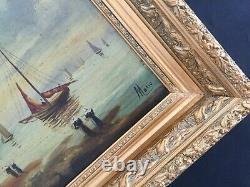 Very Old Oil On Canvas Table Signed Mario Marine Boats