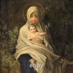 Virgin Religious Painting With Child Oil On Canvas Painting Old Style