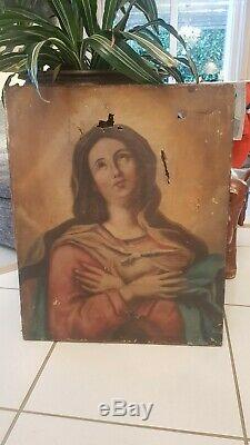 XIX S, Table Former Oil On Canvas Holy Restore