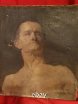 Xixth, Ancient Portrait Of Man Oil On Canvas