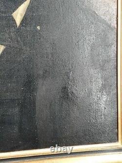 Xixth Century, Ancient Portrait Of Man Oil On Canvas