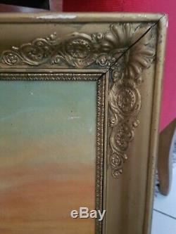 Xixth Century, Old Painting Oil On Canvas Landscape, Golden Frame Empire