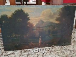 Xixth Century, Painting Old Oil On Canvas Landscape