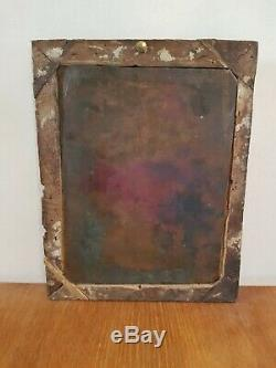 Xviiith S, Virgin Mary, Oil On Copper, Old Wooden Gold Frame