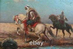 3050 huile sur panneau orientaliste ancien signé avec cadre de qualité anglais
