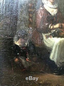 ANCIENNE HUILE SUR PANNEAU FIN 17ème MERE ET ENFANTS peinture 17th