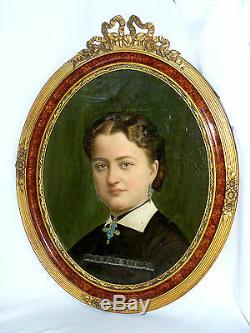 ANCIENNE HUILE SUR TOILE PORTRAIT DE FEMME VERS 1860 NORMANDIE CROIX BIJOUX XIXe