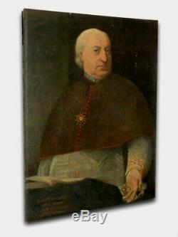 ANCIENNE HUILE SUR TOILE XVIIIe PAPE BENOIT XIV PRELAT EGLISE RELIGIEUX PORTRAIT