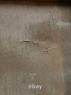 ANCIENNE PEINTURE HUILE SUR TOILE PLACE PARISIENNE ANIMÉE 20th paris