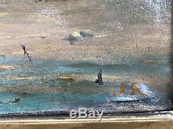 ANCIENNE PEINTURE HUILE SUR TOILE RETOUR DE PECHE SIGNÉ JR 19ème marine pêcheurs